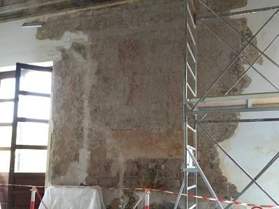 L'affresco trovato durante i lavori di restauro nel Complesso Malaspina a Palermo