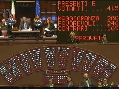 Tabellone della camera con i risultati del voto sul decreto intercettazioni