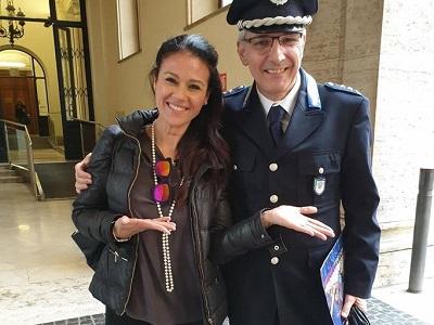 Giusy Versace e Mariano Salvatore, responsabile delle Fiamme Azzurre