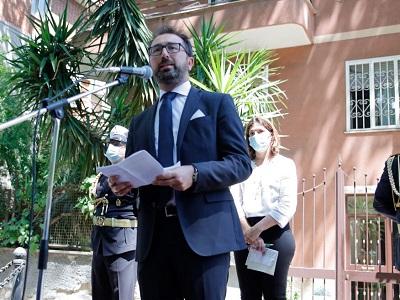 Il ministro della Giustizia Alfonso Bonafede durante la cerimonia in memoria del giudice Mario Amato ucciso nel 1980 - Foto di Doriano Ciardo