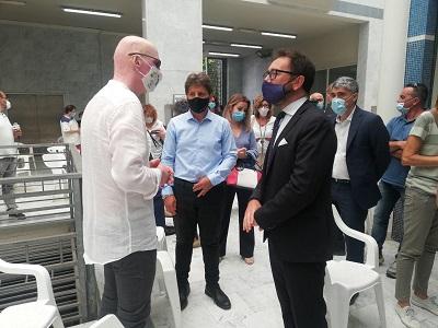 Il ministro Bonafede e Marco Piagentini, cerimonia per la strage di Viareggio - 29 giugno 2020