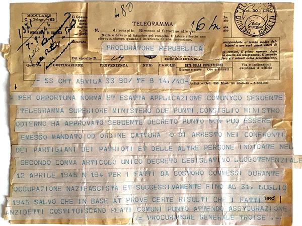 Divieto di emissione mandati di cattura nei confronti dei partigiani per fatti commessi durante l'occupazione nazifascista