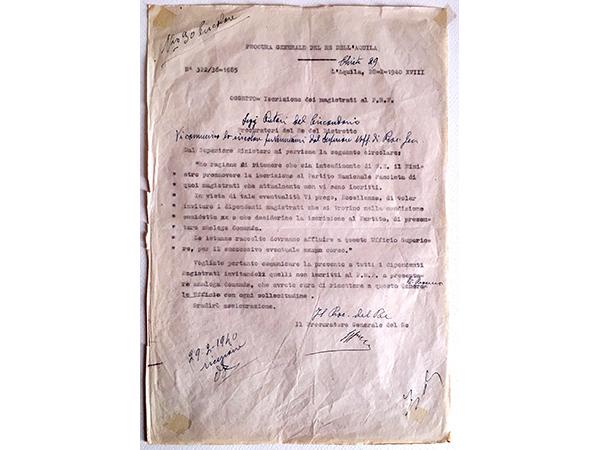 Iscrizione dei magistrati al Partito Nazionale Fascista