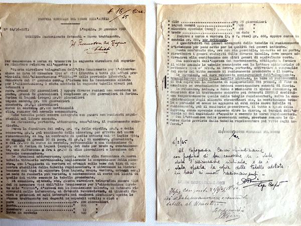 Mantenimento dei detenuti nelle carceri - nuova tabella viveri 1945