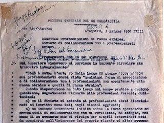 Documento del 1940 sul divieto di collaborazione tra professionisti di razza ariana con i professionisti di razza ebraica