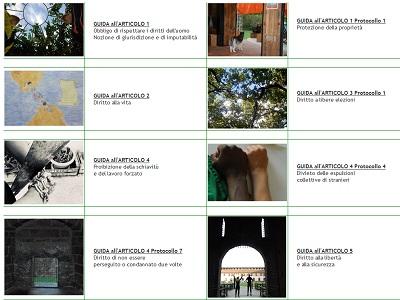 Un frammento della pagina internet sulla Guida alla Convenzione dei Diritti dell'Uomo