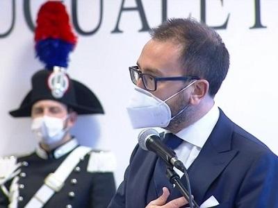 Il ministro della Giustizia Alfonso Bonafede durante il suo intervento nell'aula bunker di Lamezia Terme per l'apertura dell'Anno Giudiziario 2021 del Distretto di Catanzaro