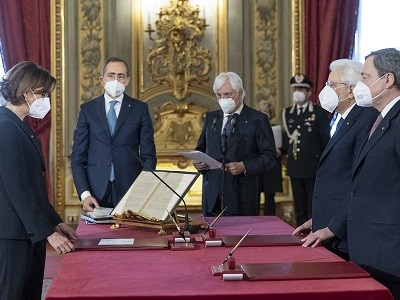 Frammento del video del Quirinale della cerimonia della firma del governo di Mario Draghi - 13 febbraio 2021