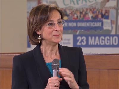 La ministra Marta Cartabia nell'aula bunker di Palermo